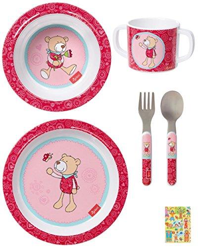 Sigikid Melamin Geschirr-Set Bär Bellarella 4-teilig Geschenkset, Melamin, Tasse, Schüssel, Teller, Besteck, zur Geburt, Taufe, Geburtstag, Mädchen