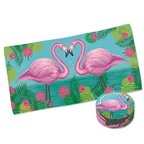 Lutz Mauder 40023 Zauberhandtuch Flamingo in 30x60cm aus 100% Baumwolle