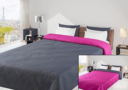 220x240 grau amaranth Tagesdecke Bettüberwurf Steppbettüberwurf Steppung zweiseitig grey amaranth Welle
