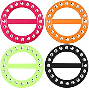Hestya 4 Pieces 80s Party Tee Shirt Clips Plastic Fashion T Shirt Scarf Clip Ring with Assorted Colors (Color C, Size C)