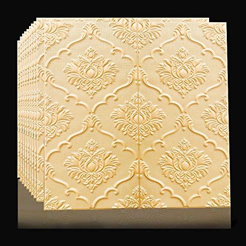 Papel pintado 3D tridimensional, autoadhesivo, para pared, de estilo europeo, para sala de estar, TV, papel de pared impermeable y anticolisión (tamaño: 10 piezas, color: color crema)