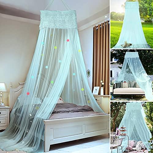 Mosquitero natural para cama con protección contra insectos para interiores y exteriores, con estrellas decorativas y copos de nieve, altura 240 cm (verde menta)