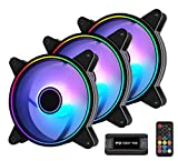 EZDIY-FAB Moonlight 120mm RGB Case Fan with 10-Port Fan Hub X and Remote,Motherboard Aura SYNC,Speed Control,Addressable Fan for PC Case-3 Pack