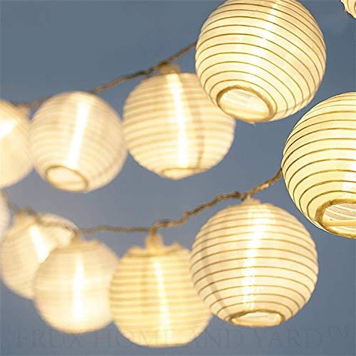 CozyHome - Guirnalda luces con farolillos decorativos de papel blanco | 7 m + 20 leds | con enchufe: sin cambio de pilas | decoracion interior y exterior, para fiesta, jardin, terraza, balcón y casa