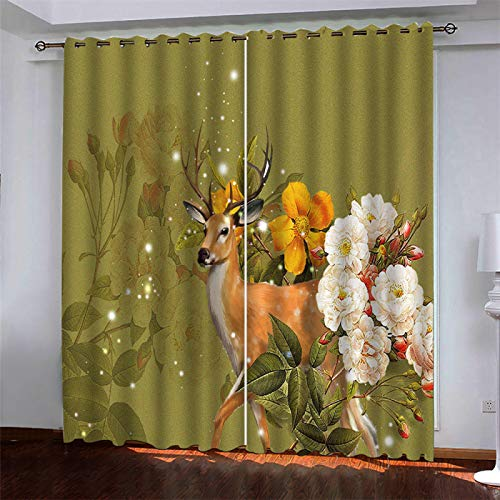European-Style Simple Printed Curtains Creative Home Decorations Suitable For Bedroom, Balcony, Kitchen Curtain 2 Pcs