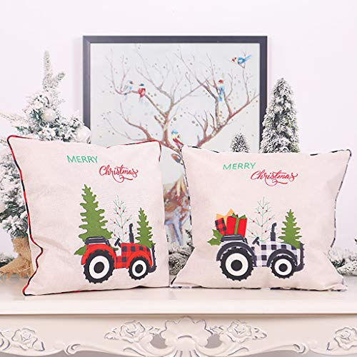 LSAltd Pillow Covers Christmas Throw Pillow Covers Santa Christmas Cushion Covers Pillowcase Zipper Closure 18' x18