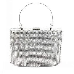 Silver Rhinestomes Handbag Clutch