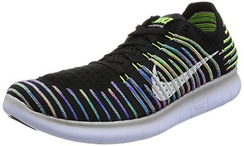 Nike Mens Free RN Motion FK 2017 Low Top Pull On, Black/White/Volt, Size 11.0