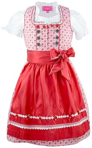 Krüger MADL ® Mädchen Kinderdirndl 3tlg. rot - Weiss Trachtenkleid Dirndl, Bluse Schürze - Marken - Dirndl Set- ArtNr.: 41821