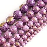 YUXIwang Pulsera Jades Naturales con Lapis de Oro Lazuli Redondo Perlas de Piedra Sueltas para joyería Fabricación de Bricolaje Accesorios 15 Pulgadas 4/6/8 / 10mm