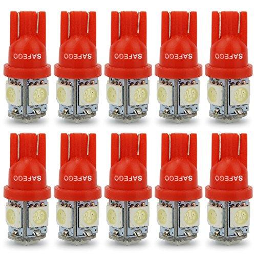 Safego 10x T10 W5W rojo LED Bombillas exteriores 5 SMD 5050 Luz Coche trasera Lámpara Luz de interior 194 168 T10 Wedge Lampara para Coches luces de la matrícula luces laterales 12V