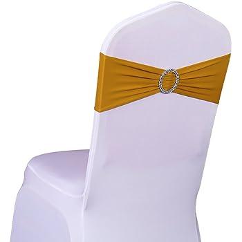SINSSOWL 100 pcs élastique Spandex Housses de Chaise Bandes nœuds pour décorations de fête de Mariage de fournisseurs Chaise nœuds Or