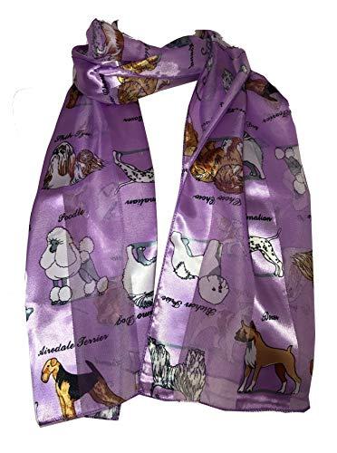 Pamper Yourself Now Lila glänzenden Hund Schal mit verschiedenen Hunderassen (Lilac Shiny Dog Scarf with Different Dog Breeds)