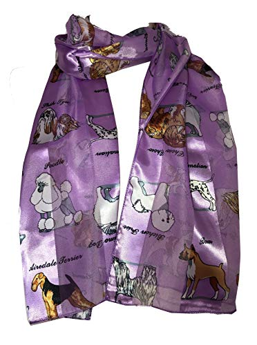 Pamper Yourself Now Lila glänzenden Hund Schal mit verschiedenen Hunderassen (Lilac shiny dog scarf with different dog breeds)