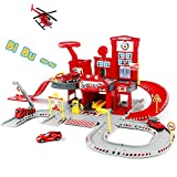 Fajiabao Fire Trucks Toy Garage Playset Race Track Cars Airplane Fireman Learning Toy Vehicle Indoor Party Games Family Assembly Parking Lot Station with Siren Lights Sounds for Kids