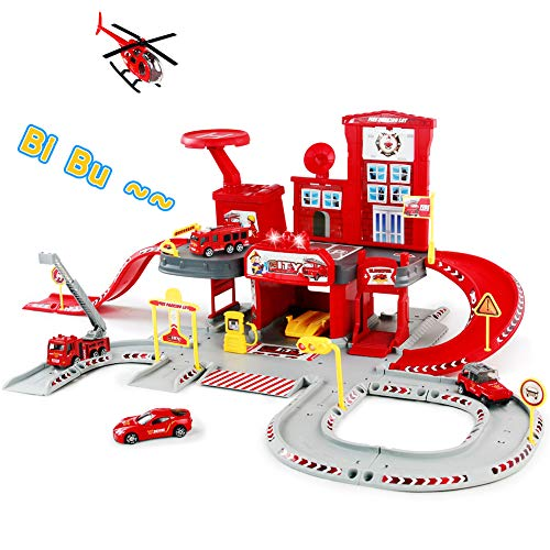Fajiabao Fire Trucks Toy 72 PCS Assembly Garage Playset Race Track Cars Airplane Fireman Learning Toy Vehicle Indoor Party Games Parking Lot Station with Siren Lights Sounds Birthday Gifts for Kids