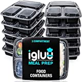 Igluu Meal Prep Containers [10 pack] 3 Compartment with Airtight Lids - Plastic Food Storage Bento...