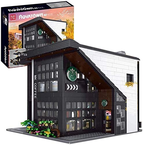 Egrus Ciudad Cafe House Building Blocks Kit, Edificios modulares, Juguete de construcción Compatible con Lego House (2728 Piezas)