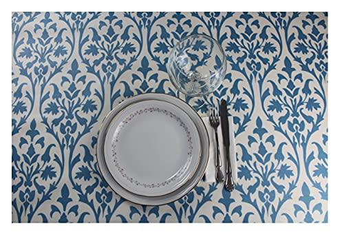 Mantel Resinado Rectangular - Cuadrado. Mantel Antimanchas Estampado, Impermeable, Flexible y Lavable al Corte (Mosaico Azul, 140x200 cm)