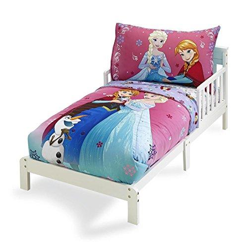 Frozen Bedding Set 4 Piece Girl Toddler Bed Set Anna Elsa Olaf Quilt Pillowcase Flat Sheet Fitted Sheet