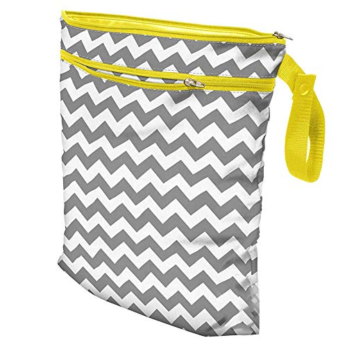 Waterdichte herbruikbare luiertas Mummy Travel Storage Bag dubbele ritssluiting luiertas, 11,8 x 15,4 inch Grijze as