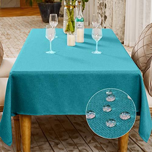 Mantel rectangular de lino sintetico, lavable para cocina, comedor, decoracion de buffet, protector de mesa, mantel lavable, algodon Lino lino falso, Lago Blue-a, 145x300cm(57x118inch)