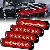 Sidaqi 4PCS 12W 6-LED Surface Mount Emergency Beacon Hazard Warning lights for Truck Car Vehicle LED Mini Grille Light Head Strobe Caution Flash Lights (Red)