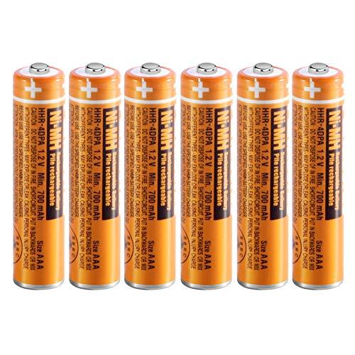 6 x Pilas Recargables AAA 700 mah 1.2v para Panasonic, Baterias Recargables NiMH para Telefonos Inalambricos