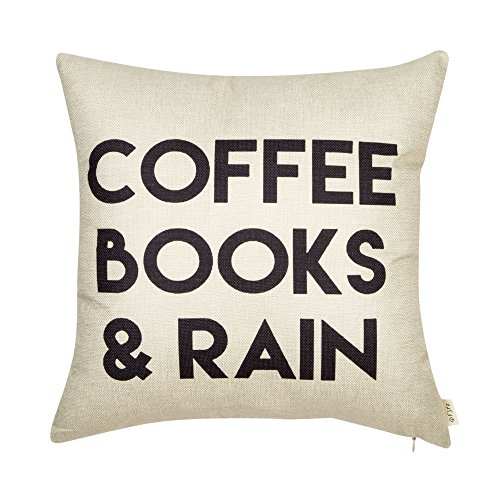 "Fjfz Coffee Books and Rain Décor Motivational Inspirational Quote Decoration Cotton Linen Home Decorative Throw Pillow Case Cushion Cover with Words for Book Lover Worm Sofa Couch, 18"" x 18"""