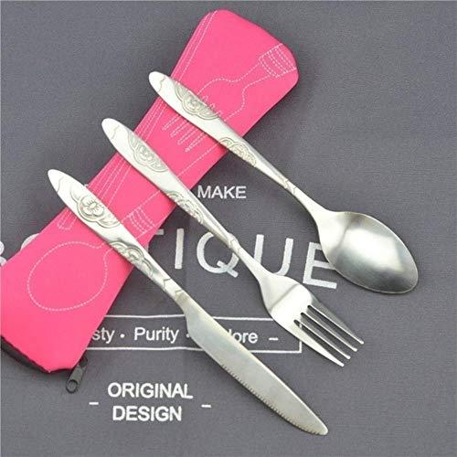 SENDALING 3pcs / Platos de Cuchara Tenedor Cuchillo portátil de Acero Cubiertos Impresa Viaje de Juego con el Filete de Acero Bolsillo de septiembre,Rojo