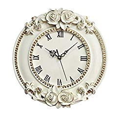 LQW HOME 12inch Resin Round Wall Clock Silent Non-Ticking Living Room Hotel Kitchen Hanging Watch Wall Charts Quartz Clock (Color : Beige, Size : 12 inches)