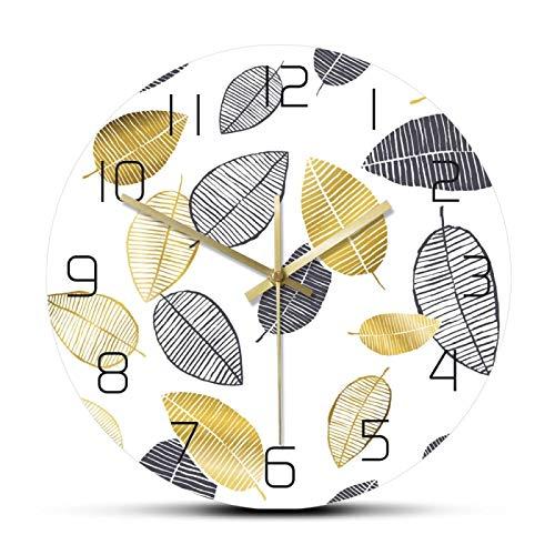 xinxin Reloj de Pared Hojas Doradas y Negras Minimalista nórdica Reloj de Pared Diseño Moderno Relojes de Pared Decoración del hogar Sala de Estar Reloj Colgante