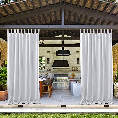 """Drapifytex 52"""" W by 84"""" L Outdoor Drapes for Pergola, Waterproof Outdoor Drapes with Tab Top, Outdoor Curtain 84"""" Long, White Grey Curtain (1 Panel)"""