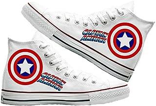 Art T-Shirt -Captain America Baskılı Unisex Canvas Ayakkabı