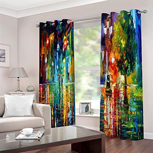 Gordijnen ondoorzichtig met ogen 3D olieverfschilderij hout thermogordijn gordijnen isolerend 2 stuks raamdecoratie voor kinderkamer woonkamer slaapkamer