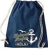 Shirtinstyle Turnbeutel, Heimathafen Anker Möwe Köln, Urlaub See Hafen Strand Familie, Farbe Blau