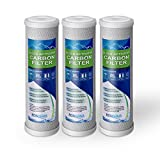 Block Activated Carbon Coconut Shell Water Filter Cartridge 5 Micron for RO & Standard 10 Housing WELL-MATCHED with WFPFC8002, WFPFC9001, WHCF-WHWC, WHEF-WHWC, FXWTC, SCWH-5 (3 Pack)