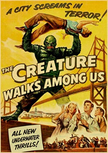 KUAISHOU Canvas Poster American Horror Movie Creature from The Black Lagoon Retro Posters Painting Wall 50 * 70cm Colorful and Gorgeous (no Frame)