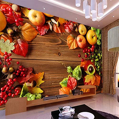 IWJAI fotomurales xxl Tienda de frutas de supermercado de fruta fresca Papel pintado mural impermeable autoadhesivo Pintura de pared estéreo 3D Pegatinas extraíbles para dormitorio infantil