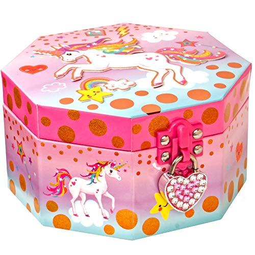 Style Girlz Unicorn Musical Jewellery Box & Heart Lock - Contenitore per Bambine Keepsake