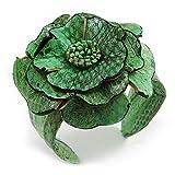 Avalaya - Bracciale rigido rigido in pelle con stampa serpente verde, regolabile