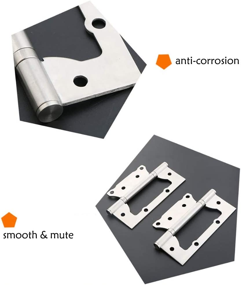 QERNTPEY Door Hinges Pack of 4 Invisible Door Hinges Stainless Steel 5 Inch Butterfly Groove-Free Flush Hinges Hardware Hinges Color : Silver, Size : 5 inch