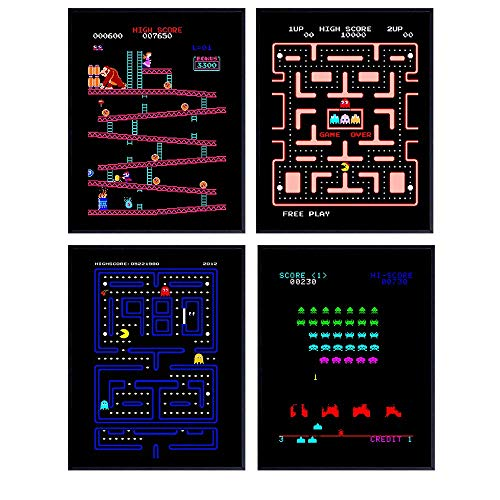 Classic Arcade Games - Arcade Decor - 8x10 Wall Art Prints Set for Man Cave, Den, Family Room, Bar, Bedroom - Gift for Gamers, Video Game, Atari, Pacman, Ms Pacman, Donkey Kong, Space Invaders Fans