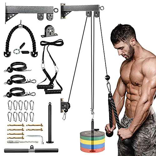 Wall Heavy DIY Pulley System Cable Pulley, 2.0M/6.5Ft Cable Pulley, Tricep Pulley System for Arm Strength Training,DIY Pulley Cable Attachment,Home Gym Pulley Workout (Heavy Wall Lat Pulley System)