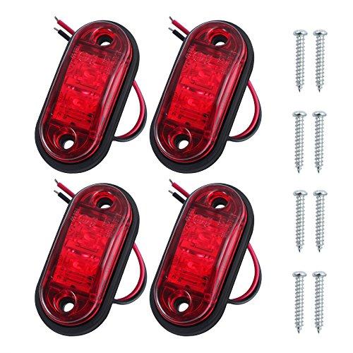 PROZOR 4PCS LED Vorderseite Markierungsleuchten 12V 24V LKW Anhänger Anzeigelampe für Auto LKW Anhänger Indikator -Rot