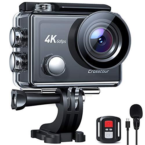 Crosstour Action Cam Nativo 4K 60FPS Touch Screen Zoom 8X Microfono, Stabilizzazione EIS Avanzato WiFi Impermeabile 40M Vari Accessori, Fotocamera Subacquea Videocamera CT9900