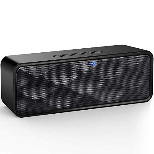 UDISON Portable Bluetooth Speaker 4.2 with Enhanced Bass and Stereo Sound, Outdoor Wireless Bluetooth Speakers with Built-in Mic, Handsfree Calling, 12 Hour Playtime, IP65 Waterproof, Aux/TF/USB