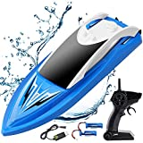 RC Boat Remote Control Boats for Pools and Lakes, ArgoHome S5B Self Righting 10km/h High Speed Boat Toys for Kids Adults Boys Girls (Blue)