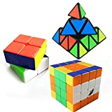 Kidsdream Cyclone Boys Cube Set Speed Cube 2x2 4x4 and Pyraminx Speed Cube Puzzles Toy Pack of 3
