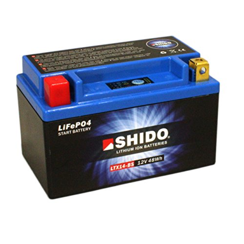 Motorrad Batterie Shido Lithium LTX14-BS / YTX14-BS, 12V/12AH (Maße: 150x87x145)